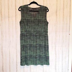 Apt. 9 Green Hatch Print Sleeveless Dress PXL